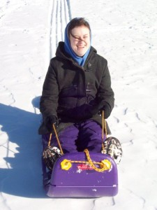 Kathie on sled